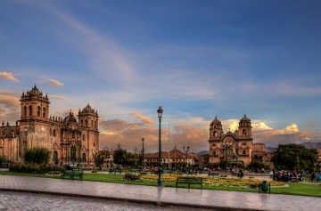 Plaza de Armas, Cusco, is showing its beauty in the sunset