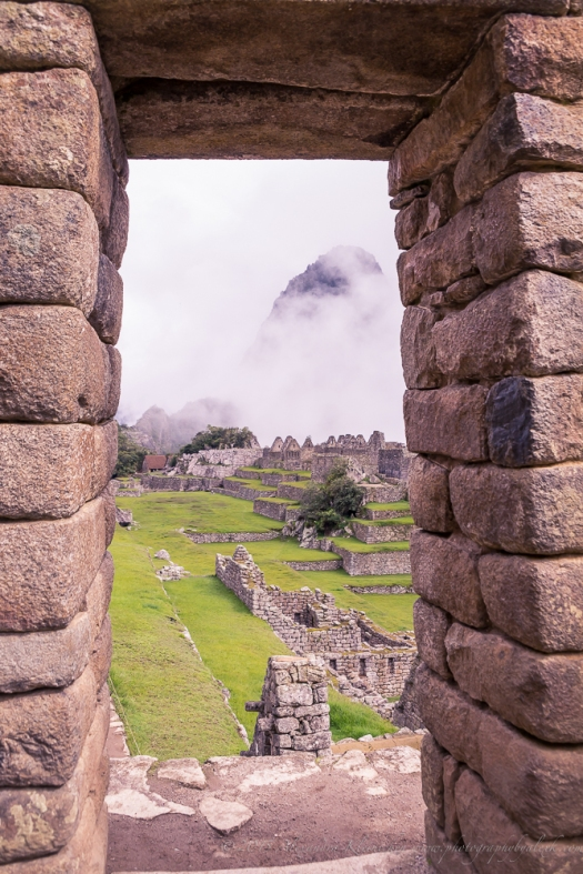 Machu Picchu view out of the doorway from the magical Inca site