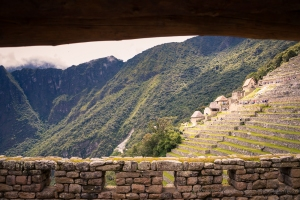 window view Machu Picchu Inca site