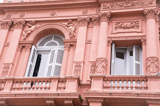 The famous balcony of the pink house in Buenos Aires