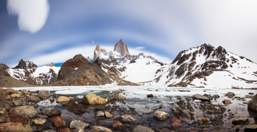 the amazing sky over Fitz Roy mountain, Patagonia.