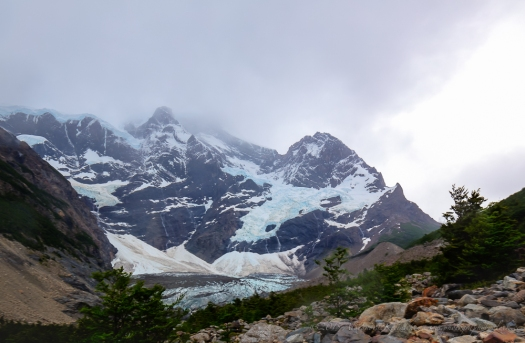 the glacier in shape of a cirque hidden deep in the ribs of hte Paine massif