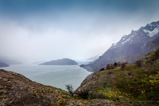 the Grey lake and glacier in Torres del Paine, Chile, Patagonia